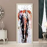 CFLEGEND Türtapete selbstklebend TürPoster Graffiti-Elefant 95X215CM 3D Bewirken Fototapete Türfolie Poster Tapete Abnehmbar Wandtapete zum Wohnzimmer Küche Schlafzimmer Wandaufkleber
