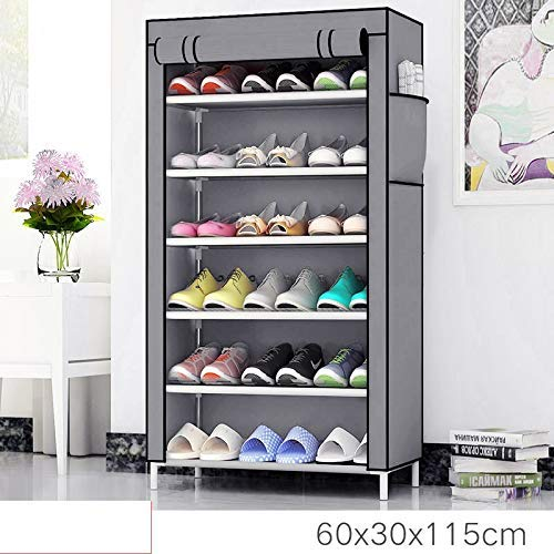 Zemic 6 Layer Multipurpose Portable Folding Shoes Rack/Shoes Shelf/Shoes Cabinet with Wardrobe Cover, Easy Installation Stand for Shoes(Shoes Rack)(Shoes Rack, Shoes Racks for Home)_6 Layer NavyBlue