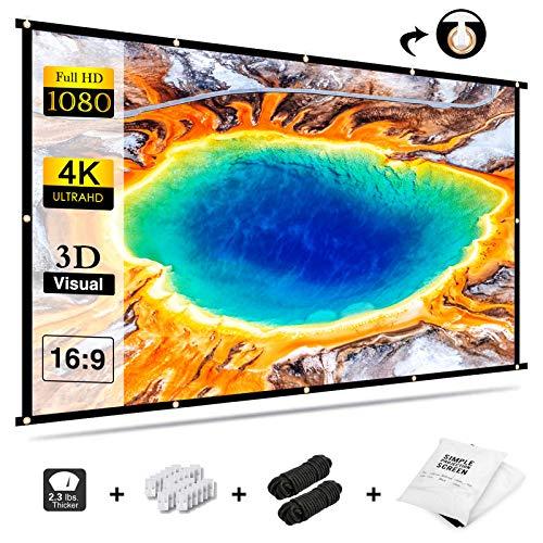 Beamer Leinwand 100 Zoll Projektionsleinwand, GKG Beamerleinwand 16:9 Full-HD Einfache Zusammenfaltbare Projektionswand Anti-Falten Video Projektor-Leinwand für Heimkino Indoor Meeting und Hinterhof