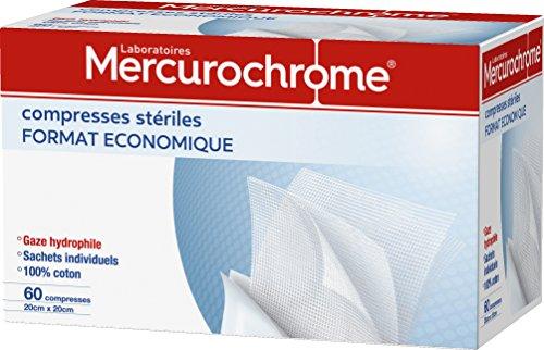 MERCUROCHROME - Compresses stériles - 100% coton - 5cm x 5cm pliées - Boîte de 60 compresses - Format Economique
