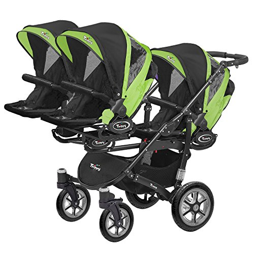 Kinderwagen Sportsitz für Drillinge 3 Sportsitze Trippy Kinderwagen schwarzer Rahmen (schwarz grün 06)