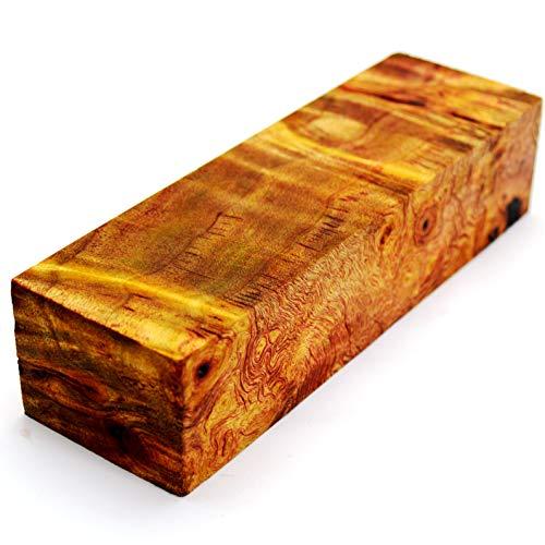 Stabilisierter Holzblock, Holzblock, roter Griff, Klinge Messer, Kaktus, Saft, Stabilisierend #514