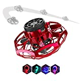 Flynova Flying Spinner Toy, IIDA Hand Operated Drone for Kids Adults Mini Helicopter UFO Boomerang Aircraft Interactive Toys with led Light Indoor/Outdoor for Girl boy