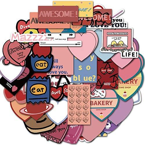 JINER Barra de Progreso de Letras geométricas, Maleta de Amor Rosa, teléfono móvil, Pegatina para portátil, Graffiti, Decorado, 50 Uds.