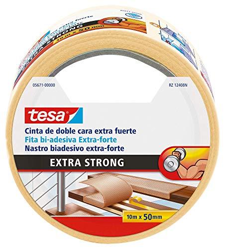 Tesa TE05671-00000-11 Cinta doble cara Extra fuerte 10m x 50mm beige, Standard