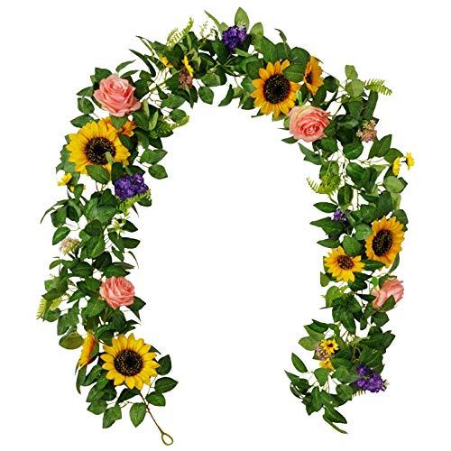 WOTEG Guirnalda de girasol artificial de seda con flores de imitación para colgar con hojas verdes, arreglo floral falso para boda, fiesta, aniversario, hogar, oficina, mesa, centro de mesa