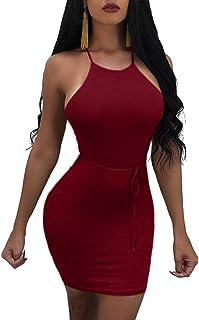 1fc8be5b4c2 MISFONDLE Women s Sexy Bodycon Backless Spaghetti Lace up Mini Club Dress