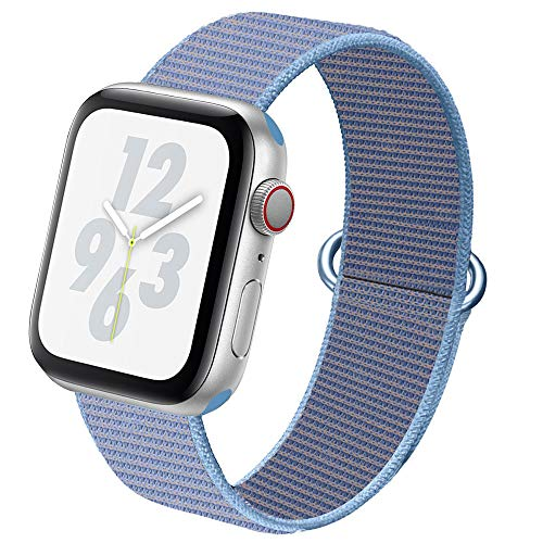 NUKELOLO Compatible for Apple Watch Band Nylon Strap Replacement Band for iWatch Series 5/4/3/2/1 38mm 40mm (Cerulean)