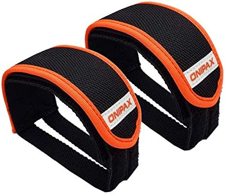 ONIPAX Outdoor Bike Pedal Straps Pedal Toe Clips Straps Tape 2 Pieces Orange product image