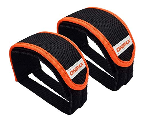 ONIPAX Outdoor Bike Pedal Straps Pedal Toe Clips Straps Tape 2 Pieces (Orange)