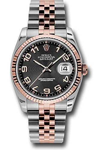 Rolex Oyster Perpetual Datejust 36mm Stainless Steel Case and 18K Everose Gold Fluted Bezel with A Black Concentric Dial, Arabic Numeral, Stainless Steel and 18K Rose Gold Jubilee Bracelet.