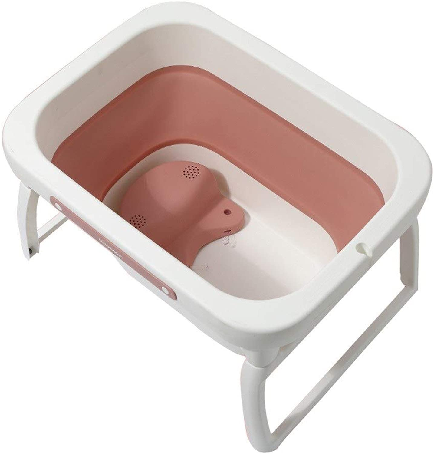 MILU Newborn Baby Foldable Bathtub Baby Swimming Bath Barrel Home Portable Beautifully Made Multi-function Plastic Bathtub (2 colors Optional) (color   orange)