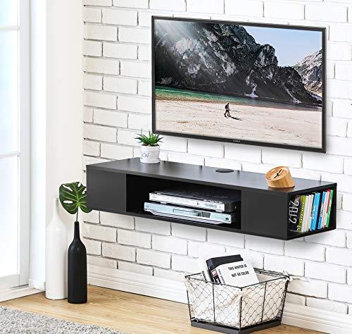 FITUEYES Madera Grano Mesa Flotante para TV Mueble para TV en la Pared Color Negro DS210003WB