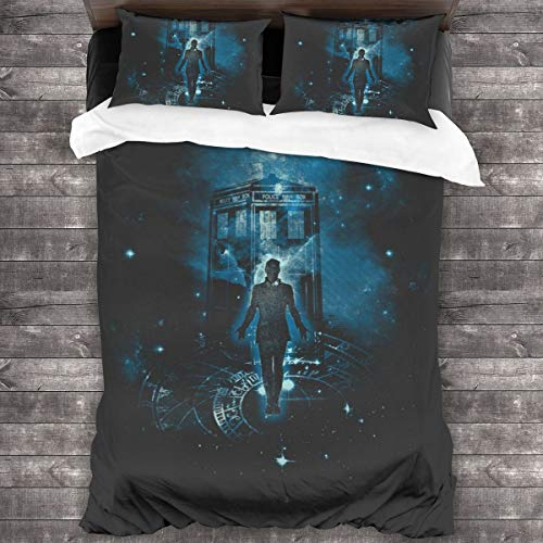 KUKHKU Time Traveller Tardis Doctor Who 3 Pieces Bedding Set Duvet Cover 86'x70', Decorative 3 Piece Bedding Set With 2 Pillow Shams