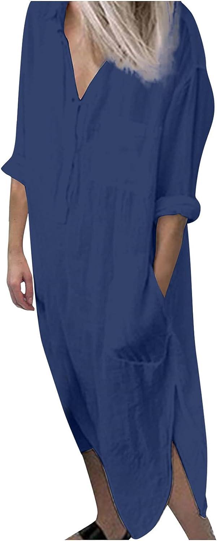 Women's Long Roll Sleeve V Neck Loose T Shirt Long Dress Casual Side Split Solid Maxi Dress