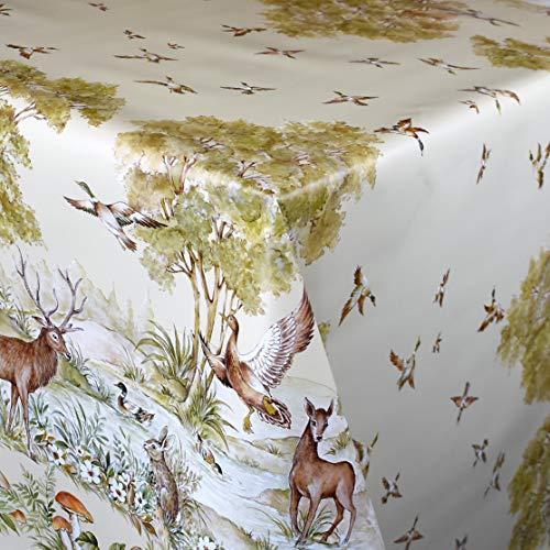 KEVKUS Wachstuch Tischdecke K78A Wild Ente REH Hase Pilz Bordürenmuster wählbar in eckig rund oval (Rand: Schnittkante (ohne Einfassung), 100 x 140 cm eckig)