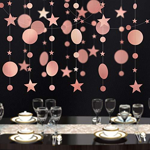 Maojuee Guirnalda de Papel 4 Paquetes Decoración de fiesta de Oro Rosa Circle Dot Garland Streamer Kit Twinkle Star Paper Hanging Bunting Glitter Banner para Boda Bautizo de Bebé Navidad Cumpleaños