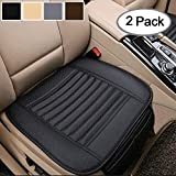 Bigant Breathable 2pc Car Interior Seat Cover Cushion Pad Mat for Auto Supplies Office Chair with PU Leather(Black)