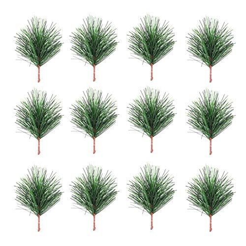 SOIMISS - 24 aghi di pino verde artificiali, rami di pino di Natale, pics, fiori, agrifoglio, per bricolage, ghirlanda, albero di Natale, artigianato