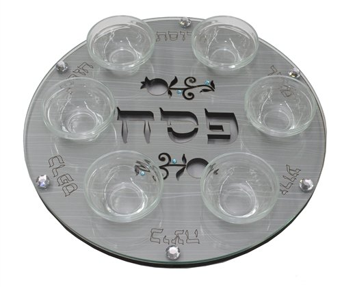 """Passover Seder Plate Round Gray Wood Etched with Jewel Accented Pomegranate Design 12"""""""