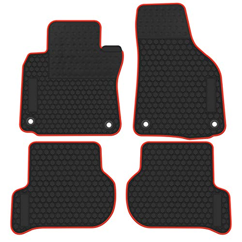biosp Car Floor Mats for Volkswagen Golf GTI 2010 2011 2012 2013 2014 Front and Rear Seat Heavy Duty Rubber Liner Black Red Edge Vehicle Carpet Custom Fit-All Weather Guard Odorless