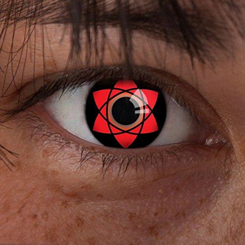 aricona - Sharingan Kontaktlinsen Uchiha Sasuke - Farbige Kontaktlinsen ohne Stärke für Cosplay, Karneval, Fasching, Motto-Partys und Halloween Kostüme, 2 Stück