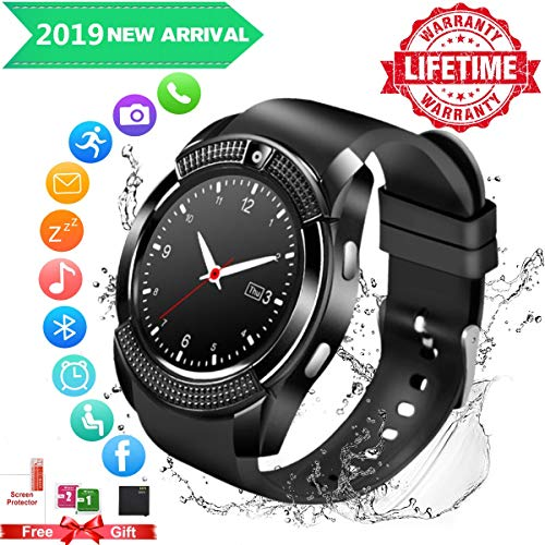 Bluetooth Smartwatch con Camera, Smart Watch Phone Touchscreen,Smart Orologio,Impermeabile Orologio Intelligente con SIM Card Fessura per Android Samsung Huawei ios Phone X 8 7 6 6s 5 Uomo Men Donna
