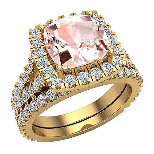 Anillo de compromiso con halo de morganita rosa de corte cojín con vástago dividido con anillo de boda de oro amarillo de 14 quilates de 3,40 quilates (I,I1)