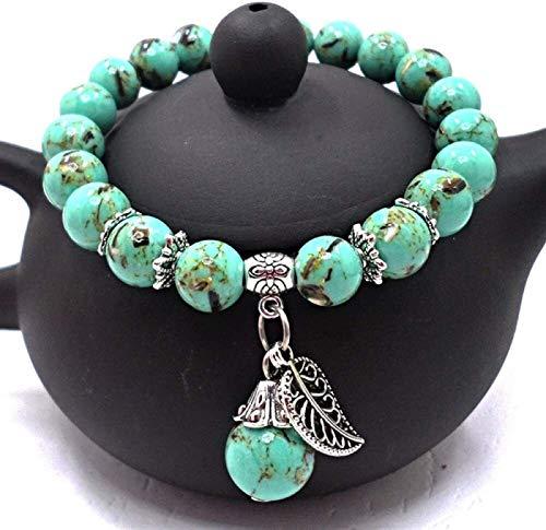 Plztou Stone Bracelet Women,7 Chakra Natural Stone Beads Green Semi-Precious Elastic Bangle Leaves Plant Pendant Jewelry Yoga Energy Pray Charm Diffuser Gift For Couple
