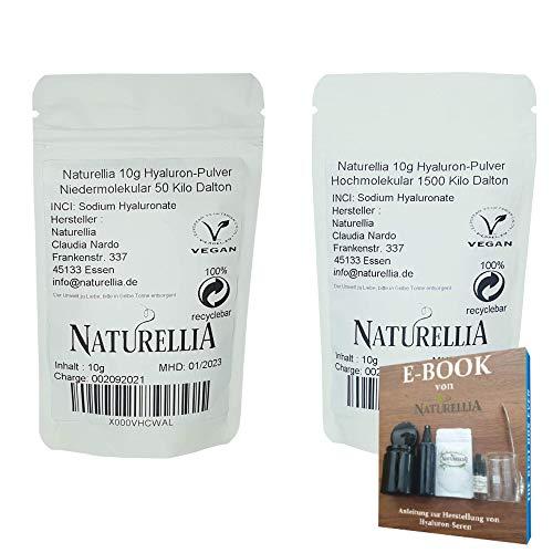 Naturellia 10g Hochmolekulare + 10g Niedermolekulare Hyaluron-Säure Pulver hochdosiert 1500 Kilo-Dalton + 50 Kilo-Dalton Hyaluronic Acid Powder zur Herstellung einer Anti-Aging Face-Cream zu Hause
