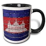 Tazas Café, Multifuncion Tazas De Cerámica Navidad Taza Desayuno,Bandera Nacional De Camboya Pintada En Una Pared De Ladrillos Taza Camboyana 330Ml Negro