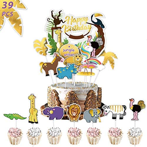 YoungRich 38 Pieces Animal Cake Toppers Happy Birthday Jungle Garland for Kids Birthday Cupcake product image