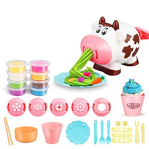 Runtodo 28PZ Playdough Set Strumenti per Impastare Creazioni da Cucina Giocattolo per Noodle Playset e Macchina per Gelatiera Kit per Pasta da Gioco