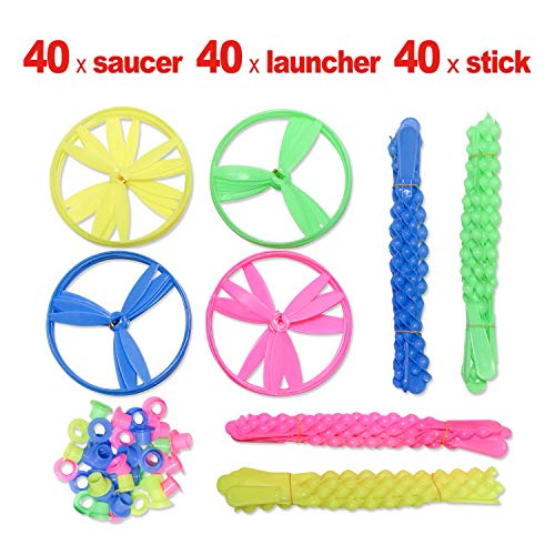 zoordo Twisty Flying Saucers,Pull String Helicopter, 40Pack Flying Disc, Kids Outdoor Play Toys