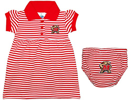 Creative Knitwear University of Maryland Terps Striped Game Day Dress with Bloomer Red