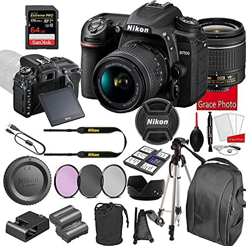 Nikon D7500 DSLR Camera Kit with 18-55mm VR Lens | Built-in Wi-Fi | 20.9 MP CMOS Sensor | SnapBridge Bluetooth Connectivity | Extreme Speed 64GB Mempry Card (27pc Bundle)