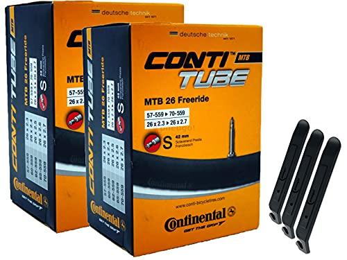 pneugo! Continental Sclaverand 57-559/70-559 - Cámara de aire para bicicleta (2 unidades, 26', incluye 3 desmontadores de neumáticos)