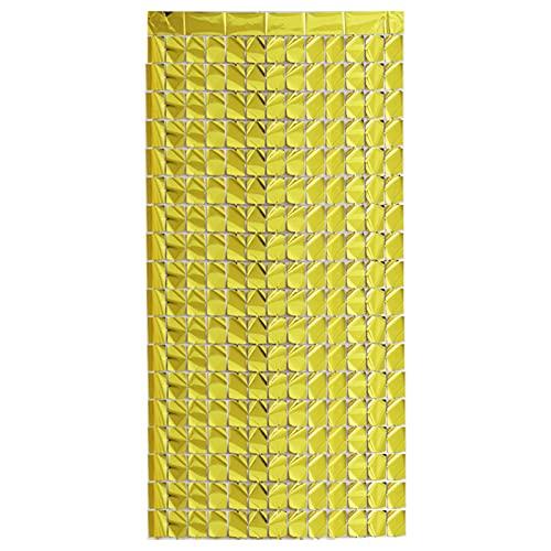 Koyigo 1 cortina de 1 x 2 m, con diseño de anillos para decoración de cumpleaños, bodas, fiestas, accesorios para fotos de Navidad (dorado)