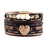 AZORA Leather Cuff Bracelet Multi Strands Brown Wrap Bangle with Pearl Boho Jewelry for Women Teen Girl Gift