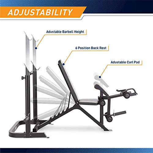 Product Image 4: Marcy Adjustable Olympic Weight Bench with Leg Developer and Squat Rack MD-879