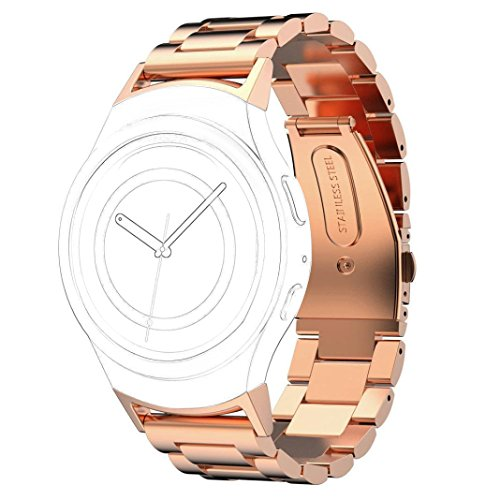 AnGolf Gear S2 riem, AISPORTS Samsung Gear S2 roestvrij staal metalen slimme horlogeband vervanging armband gesp sluiting met adapter connector voor Samsung Gear S2 SM-R720/SM-R730 Smartwatch, 3 Pointers-Rose Gold