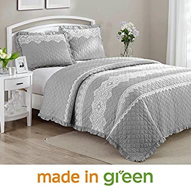 Wonder Home 3-pc. Shabby Chic Cotton Percale Quilt Set, Prewashed Oversized Diamond Matelasse Quilted Coverlet Set with Lace and Embroideries, Grey, King 106 x96