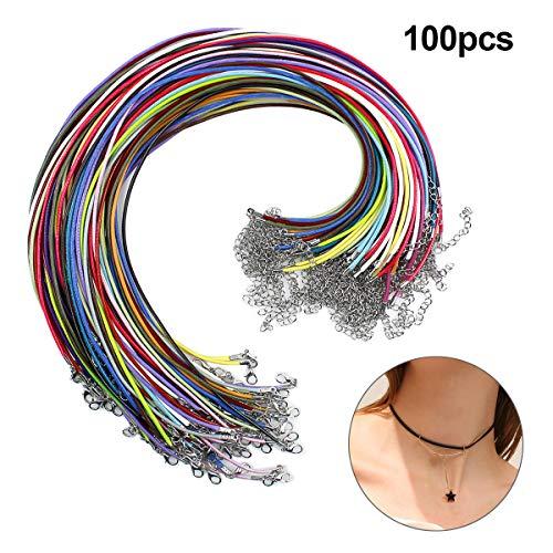Netspower 100Pcs Halskette Armband Kette, Nylon Kord Faden Schnur, runder Faden Schnur mit Karabinerverschluss und Verlängerungskette Halsband Band für Damen Herren Mehrfarbig