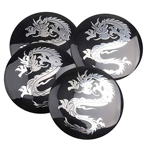 Tapas Para Llantas 4 unids 56mm Dragon Logo Coche Emblema Rueda Centro de ruedas Cap Tapa de la plaga Pegatina Compatible con Dragon VW Audi BMW Nissan Honda Tapas de cubo de rueda (Color : Black)