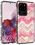 MMHUO Galaxy S20 Ultra Case Durable Hybrid Glitter Sparkle Case for Girls Women Bling Shinny Diamond Soft Bumper Shockproof Protective Case for Samsung Galaxy S20 Ultra 5G 6.9 Inch (2020), Pink