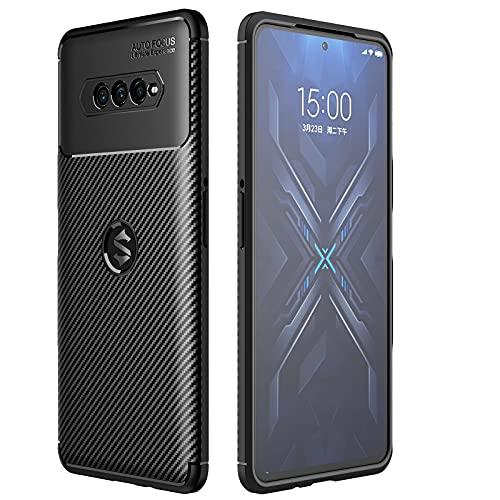 KERUN Ultra Slim Hülle für Xiaomi Black Shark 4 | 4 Pro, Carbon Fiber Silikon Dünn Stoßfest Stossfest TPU Handyhülle, Schutzhülle Flexibles Bumper Cover Hülle - Schwarz