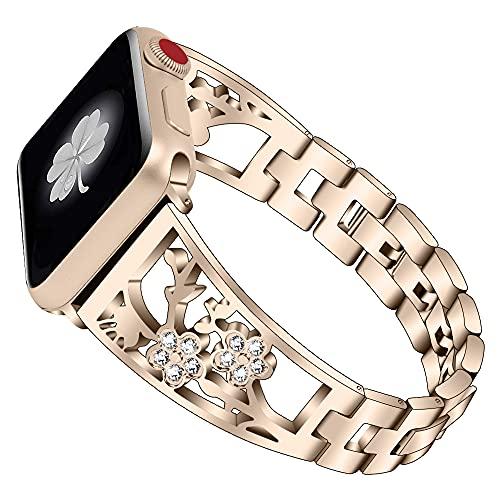 CHENPENG Correa de Acero Inoxidable Compatible con Apple Watch Correa de Diamantes de imitación de Metal Pulseras de Moda para Mujer,C,38MM