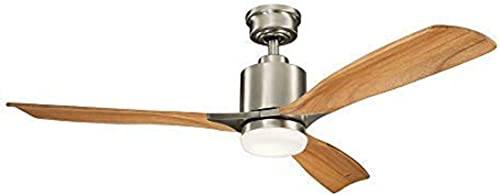 discount Kichler Lighting 300027BSS 2021 Ridley Ii-52 Ceiling Fan with Light Kit, Brushed Stainless Steel Oak Blade 2021 Finish online