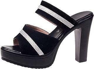Cosplay-X Women's Sexy Open Toe One Band Slider Slipper High Block Heels Slip On Sandals Platform Mules Sandals