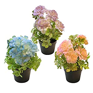 3 Packs Mini Potted Artificial Flowers, Lifelike Fake Plants Hibiscus Flowers for Home Office Desk Living Room Decor